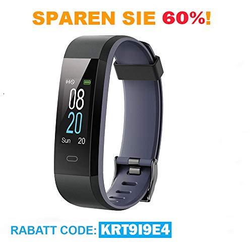 icefox Unisex-Adult Tracker Armband, Fitness Trackers Smart Uhr, Wasserdicht IP67 Bluetooth Aktivitätstracker mit Pulsmesser,Herzfrequenzmonitor, und Schrittzähler, Black-1
