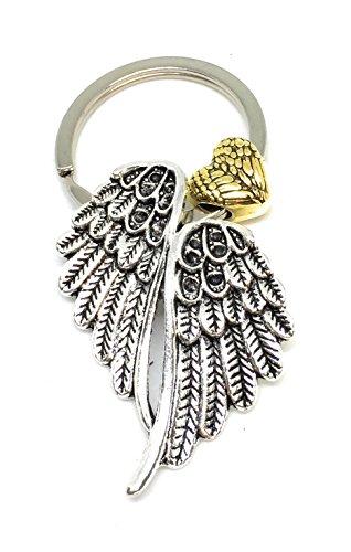 Flügel Wing Schlüsselanhänger Metall Herz Heart Angel Engel Alt-Silber CSH66