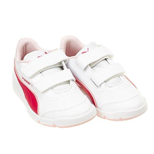 Puma Unisex-Kinder Stepflx Fs Sl V Derby, Weiß Rosa-Weiß