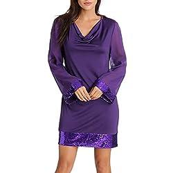 VEMOW Heißer Elegante Paillette Cocktailkleid Damen Frauen Casual V-Ausschnitt Pailletten Langarm Ballkleid Stitching Minikleid(Violett, 38 DE/S CN)