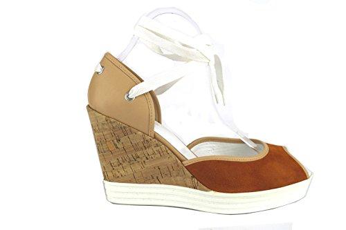 HOGAN sandali zeppe donna marroncino beige pelle camoscio AH704 (39 EU)