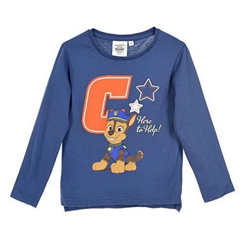 Paw patrol - maglia maglietta t-shirt premium con particolari a rilievo - chase rubber - bambino - prodotto origianale con licenza ufficiare 5921hr [blu - 3 anni - 98 cm]