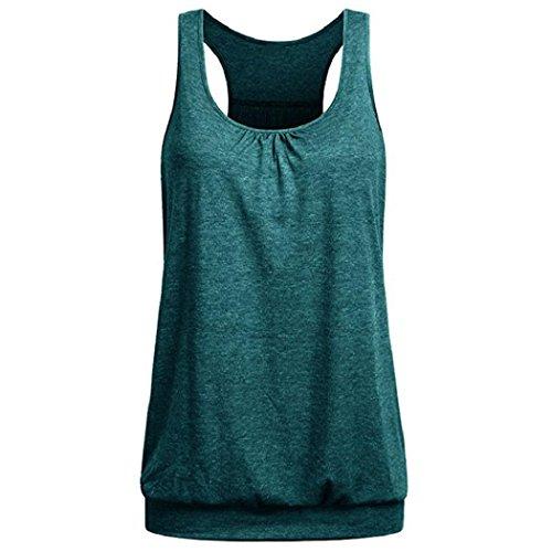 Lonshell-sport racerback delle donne vest yoga wear da maniche a spalle scoperte formazione e palestra canotta (m, verde)
