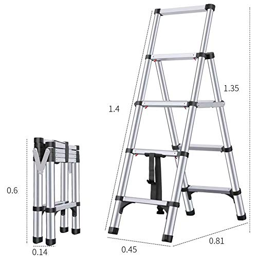 AA-SS Escalera hogar Interior Multifuncional Escalera Plegable Escalera telescópica de Aluminio Engrosamiento...