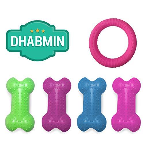 Dhabmin Juguetes para Perros pequeños 4 Huesos + Rueda de Goma para...