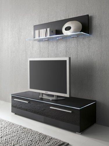 Lowboard und Glasbodenpaneel schwarz Fronten hochglanz optional LED-Beleuchtung, Beleuchtung:Beleuchtung Weiß;Breite:120