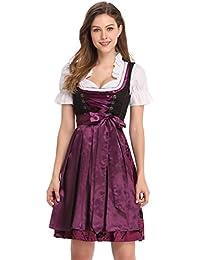 9d32095dbdfba8 Clearlove Dirndl 3 tlg.Damen Midi Trachtenkleid für Oktoberfest- Spitzen  Kleid,…