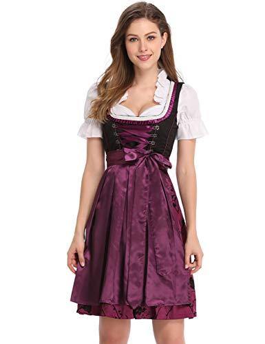 Clearlove Dirndl 3 TLG.Damen Midi Trachtenkleid für Oktoberfest,Karneval,Spitzen Kleid&Bluse&Schürze (38, Elegant violett)