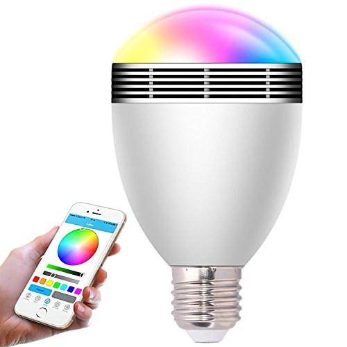 Smart bombilla, teetox Wireless Bluetooth 4.0 altavoz, pantalla APP Control Regulable colorido Luces LED decorativas Trabajo con iOS iPhone, iPad, smartphone, ordenador portátil para fiesta, dormitorio, Hote