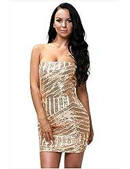 El vestido de fiesta sin mangas collar Sequin Dress strapless con discoteca,S,Champán