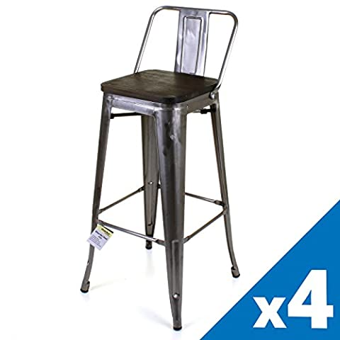 Marko Furniture Set of 4 Metal Industrial Bar Stool Breakfast
