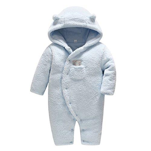 Vine Baby Schneeanzüge Winter Fleece Overall mit Kapuze Mädchen Jungen Strampler FOOTED Jumpsuit, Blau 6-9 Monate
