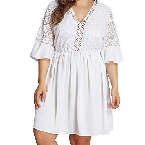Plus Größe Damen Plus Size V-Ausschnitt Solide White Lace Nähte Sommerkleid Asymmetrische Weiß...