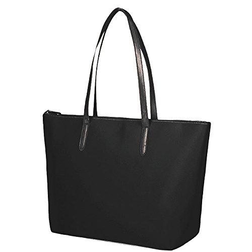 Kamidorf Nylon Schultertasche schwarz, groß elegant Handtaschen Damen, Umhängetasche Shopper Henkeltaschen