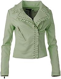 Frauen Faux Leder PU beschnitten gekräuselten Rüschen und Nieten Collared Zip Trim Manschetten Smart Damen Biker Jacke