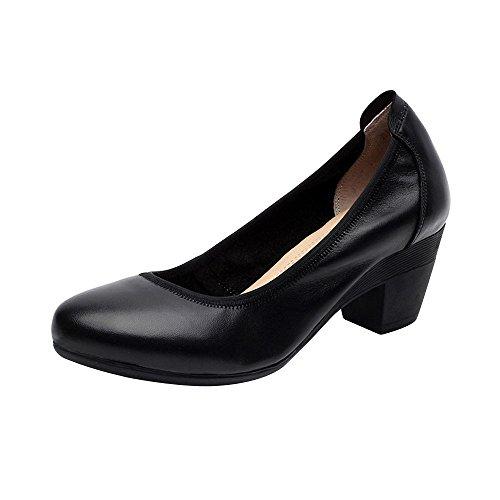 OCHENTA Femme Escarpins Talon Bloc Hauteur 5.5CM Office Chaussure de Travail Noir