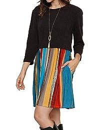 Wenyujh Damen Kleid Loose Kleider Freizeit Beiläufig Minikleid Langarm  Patch Design Partykleid Gestreift Rundkragen 6f9d2568b1
