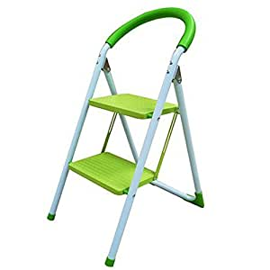 Deluxe Lime Green 2 Step Household Steel Step Ladders DIY Stepladders New (SI-HH1007)