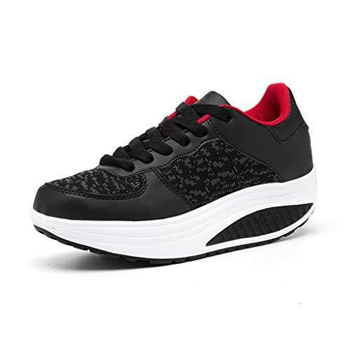 LILIHOT Damen Turnschuhe dicken Sohlen Rocking Schuhe Student Plattform Schuhe leichte Laufschuhe Damen atmungsaktiv Fitnessschuhe mit Outdoor-Schuhe Mode Rutschfeste beiläufige Flache ()