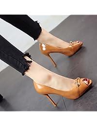 FLYRCX La moda europea boca de pescado zapatos primavera y verano tacones finos boca superficial temperamento...