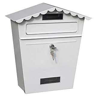 TINGTING Briefkästen Haushalt Büro Villa Brief Lagerung Dekoration 2 Fenster Mit 2 Schlüsseln (Farbe : Weiß, größe : 33.5 * 35.7 * 13.2)
