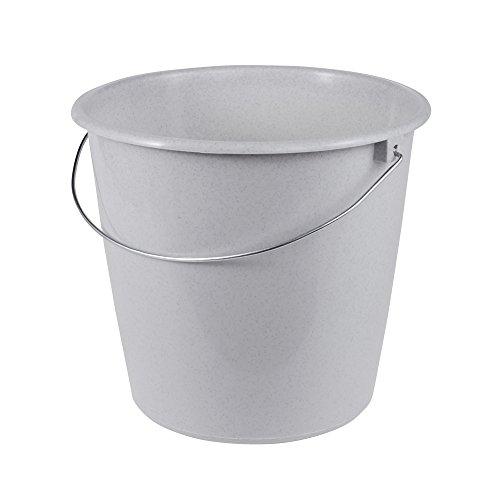 ok Eimer mit Metallbügel, Stabiler Kunststoff (PP), Rund, 10 l, Granit-Grau -