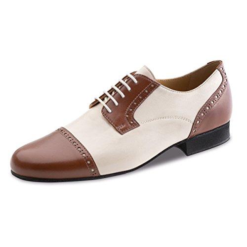 Werner noyau, Chaussures de danse homme 28051cuir [Largeur normale] Marron/crème