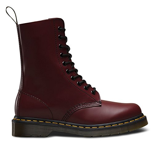 Dr.Martens Mens 1490 Smooth 10 Eyelet Red Leather Boots 42 EU