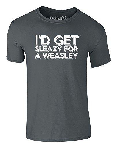Brand88 - I'd Get Sleazy for a Weasley, Erwachsene Gedrucktes T-Shirt Dunkelgrau/Weiß