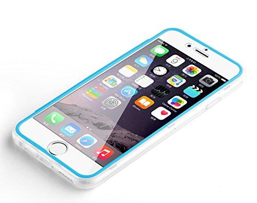 iPhone 7 Hülle, JAMMYLIZARD Transparentes Rundumschutz Cover aus Silikon mit integriertem Displayschutz für iPhone 7, SCHWARZ BLAU