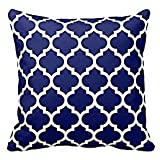 vintage cap Navy Blue and White Decorative Cushion Covers Throw Pillow Case Moroccan Quatrefoil Pattern Print Square Two Sides 18'x 18' Inch
