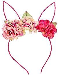 Diadema para niños, diadema de flores rosas con orejas de conejo, para bodas, fiestas, peluquería. hot pink