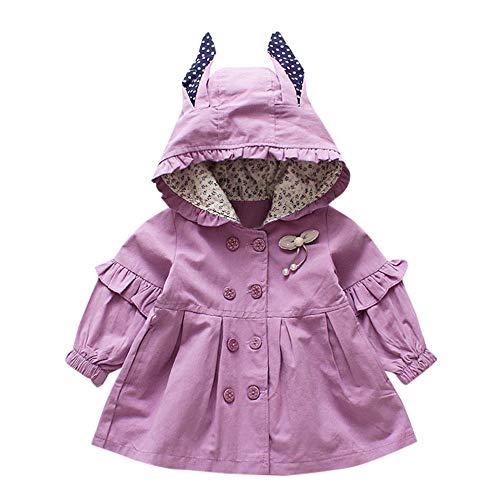 catmoew Kleidung Baby (2J-6J) Kleidung Kinder Baby Mädchen Lange Ärmel Polka Dot Ohr Mit Kapuze Jacke Mädchen Kleidung Kleider Kinder Baby kinderkleidung Windjacke