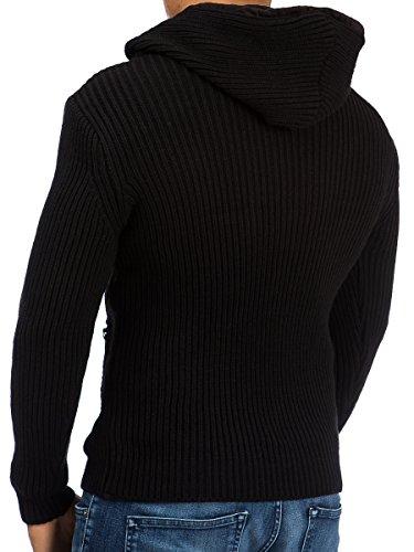 Pullover Strickpullover Herren Tazzio Hoodie Kapuze Shirt Langarmshirt Sweatshirt Strick Pulli Schwarz