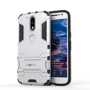 Heartly Motorola Moto G Plus 4th Gen/Moto G4 Plus/Moto G4 Back Cover Graphic Kickstand Hard Dual Rugged Armor Hybrid Bumper Case - Champagne Silver