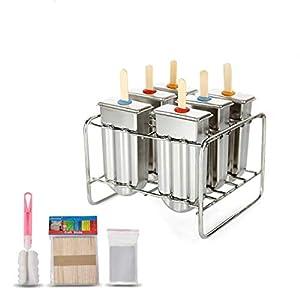 Form für Eis am Stiel, Eiscremeform, Stieleis-Form aus Edelstahl, für Gefrierschrank, 6 Stück im Set