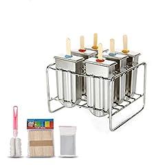 Idea Regalo - Stampo per ghiaccioli in acciaio INOX con base di supporto per bastone, da freezer, set di 6