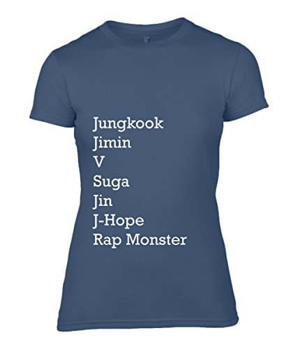 BTS Army Members Name - Bangtan Boys Women's Fitted T-Shirt 100% Cotton (S, Blau) (Fitted T-shirt Baby-womens)
