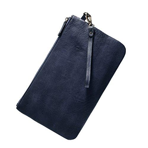 Pochette Borsetta In Pelle Bvane Nuovo Retrò Sezione Di Cuoio Minimalista Lungo Di Sacchetti Della Chiusura Lampo -160080 (blu grigio)