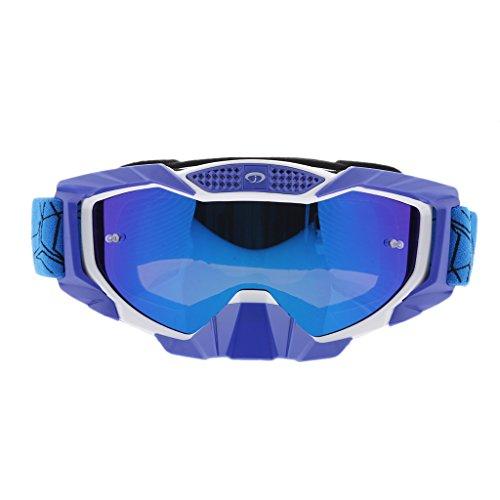 MagiDeal 1 Stück Winddichte Brille UV400 Schutz mit Verstellbares Gummiband und Helm Kopf und Gesichtsbedeckungen 1,6 Zoll - Blau