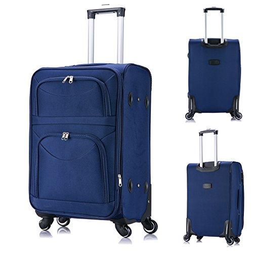 EUGAD RK4214sz-M Reise Koffer Trolley 1200D Oxford Weichschale , Reisekoffer Stoff 4 Rollen , Weichgepäck Reisegepäck Handgepäck M / L / XL / Set , leicht & günstig , Schwarz (M, 56 cm & 42 Liter) Blau