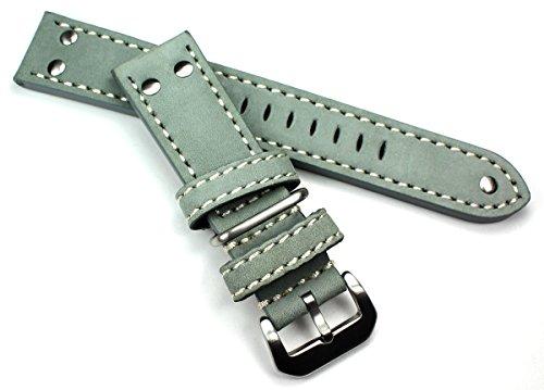 24 mm grau PILOT FLIEGER AVIATOR Military Style Robust BAND echt genuine Leder Uhrenarmband AW NATO mit Nieten