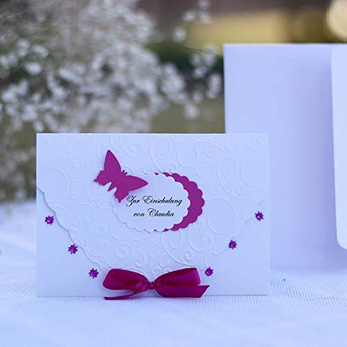 10 personalisierte Einladungskarten Einladung zur Einschulung Schulanfang Schuleinführung 1. Schultag für Mädchen Pink mit Namen Handarbeit binnbonn