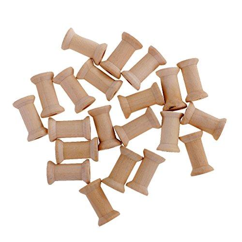 Baoblaze 20/100 Stück Holzspulen Garnspule Garnrolle Holz Mini Holzspule - 20pcs 27x16mm