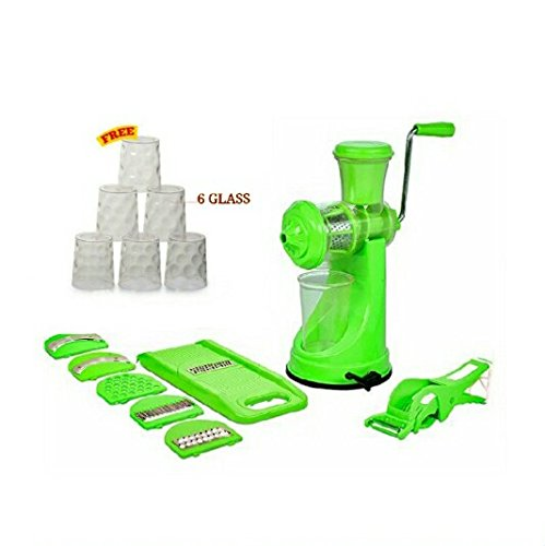 TrackIndia Combo Of Juicer And 6 In 1 Slicer With Peeler And Free Glass