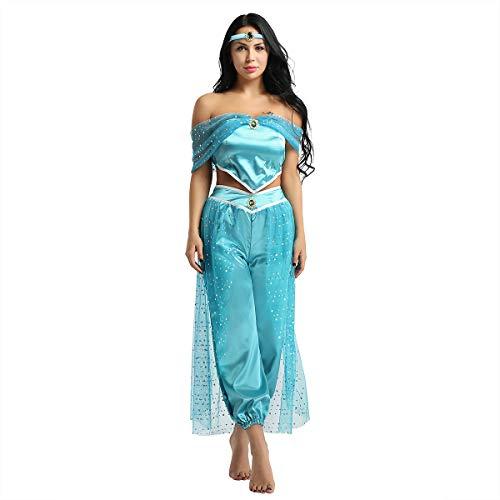 Alvivi 3Pcs Damen Prinzessin Kostüm Paillette Schulterfrei Ärmellos Top Hose Stirnband Set Karneval Fasching Cosplay Kostüme Blau Medium