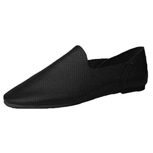 Anguang Hommes Confortable Entreprise Chaussures Flâneur De plein air Au volant Chaussures Mocassins Noir 2