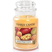 Yankee candle 1114681E Mango Peach Salsa Candele in giara grande, Vetro, Arancione, 10.1x9.8x17.5 cm
