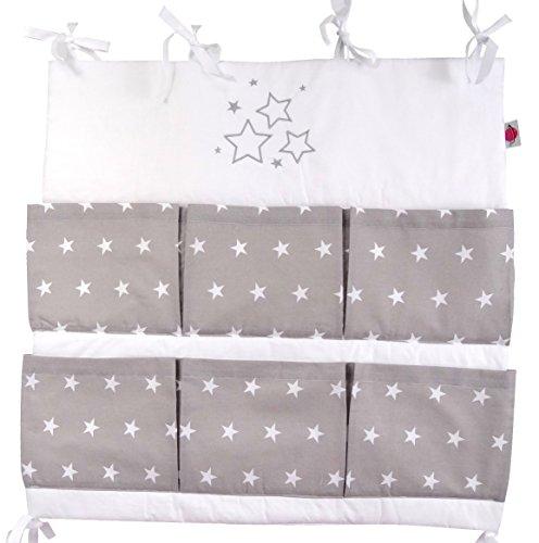 Baby Betttasche für Baby Bett, Utensilio, Wandaufbewahrung, Aufbewahrung fürs Kinderbett 60cm (Stars grau)