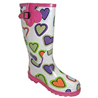 i-Smalls Womens & Girls Heart Print Festival Concert Slip On Wellingtons